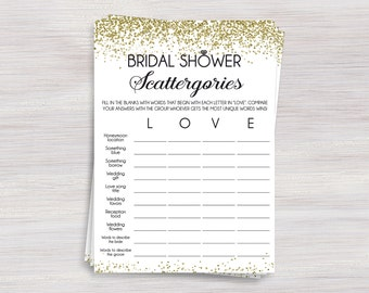Bridal Shower Scattergories Game, Funny Bridal Shower games, Gold confetti Shower ideas, Bachelorette Wedding Shower, Engagement party game