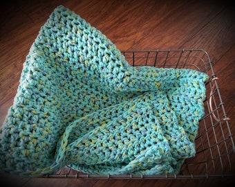 Pacific crochet blanket, stroller blanket, toddler blanket, chunky cotton blanket