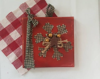 Snowflake, wooden wall plaque, cozy cabin Christmas decor, plaid, rustic, red,