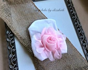 Hospital hat, Newborn soft Pink chiffon flower, white bow Beanie, Newborn baby girl pink chiffon rose hat, Hospital Hat