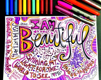 I Am Beautiful Coloring page download, Adult coloring page, Printable coloring page, recovery coloring, colouring, self love quotes. Love.