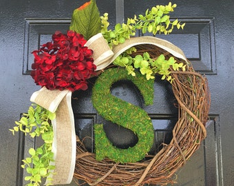 moss monogram wreath with red hydrangea. spring wreath. personalized wreath,wreath for summer,wreath for door.monogram wreath