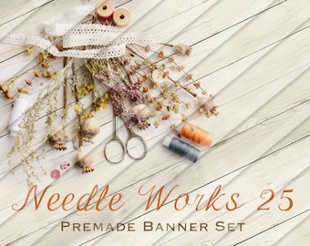 """Etsy Shop Banner Set - Graphic Banners - Branding Set - """"Needle Works 25"""""""