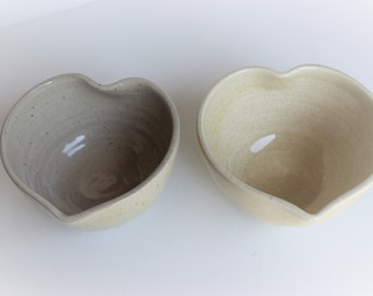 Heart shaped pottery bowl, wheel thrown, altered bowl
