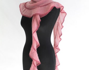 Long skinny ruffle scarf in pink mohair