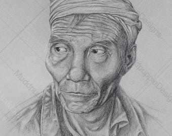 A3 - For him PORTRAIT Asian Man DRAWING elderly people monochrome Realistic wall decor lifestyle Artwork Black Grey muddpuppie design gift