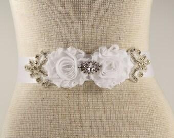 White Bridal Sash - Wedding Dress Sash Belt - White Rhinestone Crystal Wedding Sash - White Rhinestone Bridal Sash