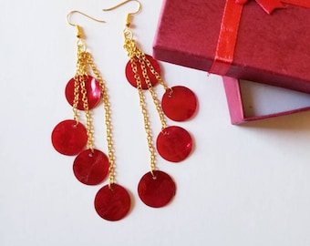 Gorgeous layered Mother of Pearl Shell Red earrings, Mother of Pearl shell jewelry, Red earrings.