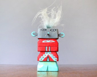 Vintage Route 66 Style Hopi Kachina Doll - Gray / Red / Turquoise Guard