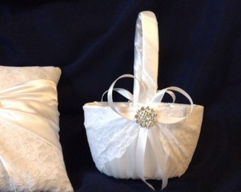 wedding flower girl basket ivory or white color custom made lace