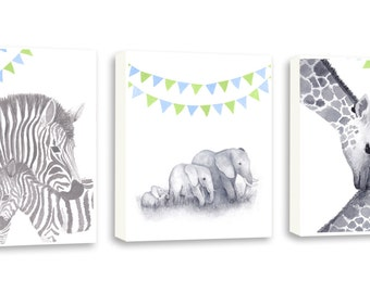 Zebra Nursery Art, Gift For Baby, Elephant art, Watercolor Giraffe, Nursery Art, Kids Art, Set Of Three Gallery Wrapped Canvases - SO78WC