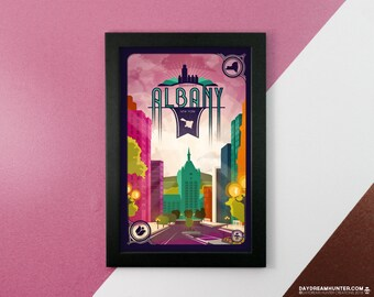 Downtown Albany, NY Print • New York Poster • City of Albany State Street • Empire Plaza • SUNY Capital District • Wall Art Graphic Design