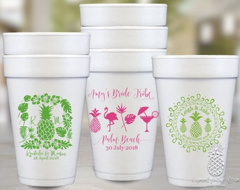 Pineapple Flamingo Party | Customizable Styrofoam Cups | Birthday, Wedding, Engagement Bridal Parties, Bachelorette or Baby Shower Favors