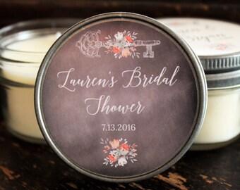 Set of 12 - 4 oz Vintage Key Bridal Shower Favor//Candle Favor//Personalized Wedding Favor//Shower Favor//Soy Candle Favors//
