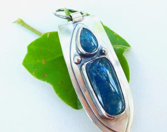 Blue apatite stone pendant sterling silver necklace