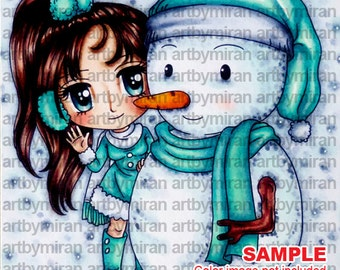 Digital Stamp - Hello, Mr. Snowman(#251), Digi Stamp, Coloring page, Printable Line art for Card and Craft Supply