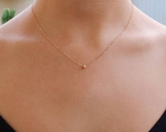 Dainty gold necklace, stardust necklace, dainty gold necklace chain, solid 14k gold necklace, gold necklace dainty, minimalist gold necklace