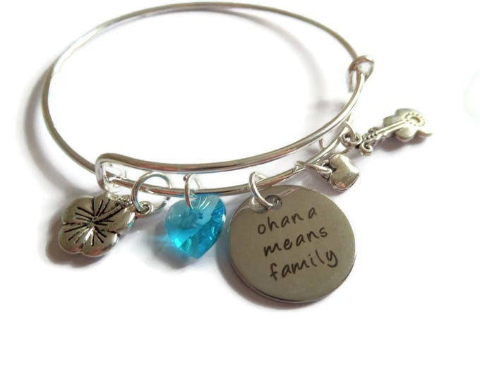 ohana bracelet, ohana means family, laser tag bangle, hibiscus flower bracelet, lilo gift, fan gift, jewellery gift,