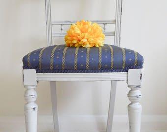 Carved Ornate Chair, Georgian Chair, Victorian Chair,  Wooden Chair, Blue Chair, Navy Chair,  Cushioned Chair,  Side Chair, Hall Chair