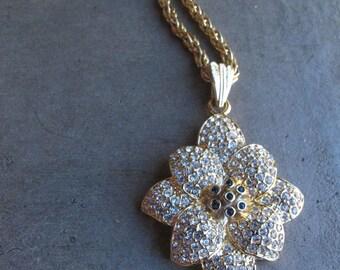 Swarovski Crystal Necklace Vintage Swarovski Crystal Flower Pendant Bling Crystal Pendant High Fashion Necklace Swarovski Crystal Pendant