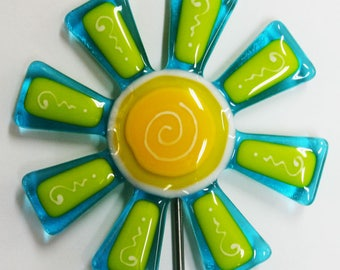 Glassworks Northwest - Aqua and Lemongrass Flower Stake - Fused Glass Garden Art