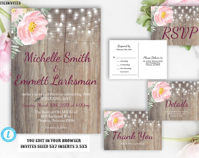 Blush Pink Wedding Invitation Template, Blush Wedding Invitation, Rustic Wedding Invitation Template, Editable, Postcard RSVP, Template, DIY