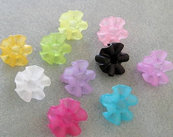 Frosted Lucite Acrylic Flower Cap Bead Mix 20mm x 17mm Choose Your Colors 401