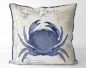 Blue Crab Pillow Cover beach decor - Seaside Postcard - Nautical Pillow Nautical Decor Beach House Decor Coastal Living Coastal Decor