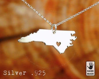 North Carolina State Map Handmade Personalized Sterling Silver .925 Necklace in a gift box