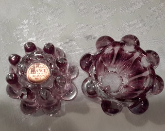 Reims France glass purple fade to clear taper holder