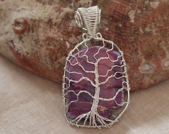 Sea Sediment Jasper Tree of Life Pendant with Silver color wire