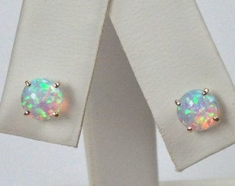 Created Opal Stud Earrings Solid 10kt Yellow Gold