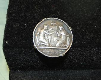 Silver brooch vintage 3.2 cm wide