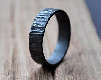 Rustic Men's Ring. Oxidized Sterling Silver Wedding Ring. (Oxidised, Black, Grey.) 6mm Wide Flat Band. Custom Size. Recycled. Eco.