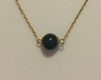x Vintage Goldtone Round Jade Necklace (#2)