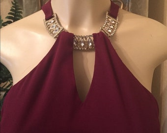 Celavie Rhinestones Burgundy Homecoming Bridal Prom Formal Party Dress Large