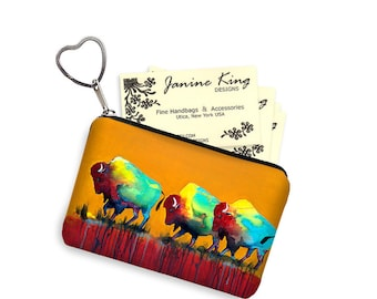 Clara Nilles Business Card Holder Southwestern Buffalo Fabric Pouch Key Fob Small Zipper Bag Coin Purse Key Chain Bison orange blue red RTS