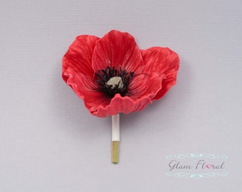 Red Poppy Boutonniere . Real Touch Flowers, Wedding flowers for men, groom, groomsmen, fathers, prom, special event