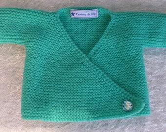 Jacket / handknitted Cardigan wrap-baby blue, green