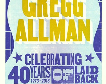 Gregg Allman Tribute Framed 11X17 Print.  100 percent of the proceeds of this item will be donated to charity