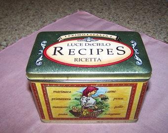 Luce de Cielo Ricetta Tin Recipe Box