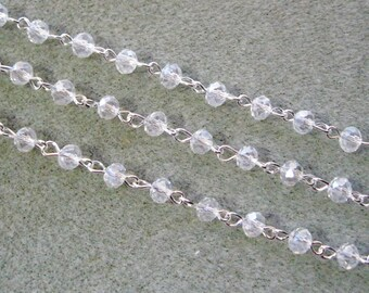 """One Meter 39.5"""" Faceted Crystal Clear Rondelle Glass 4 x 6mm Beaded Rosary Chain Bright Silver 996"""