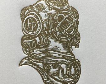 Antique Diver's Helmet Letterpress Print