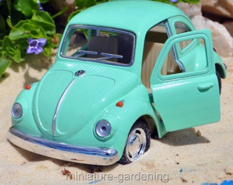 VW Beetle Pastel, Color Options: Seafoam for Miniature Garden, Fairy Garden