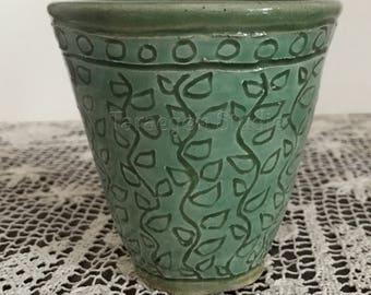 celadon green sgraffito tumbler wine pottery clay wheel thrown handmade cup vessel 10 oz (dv35)