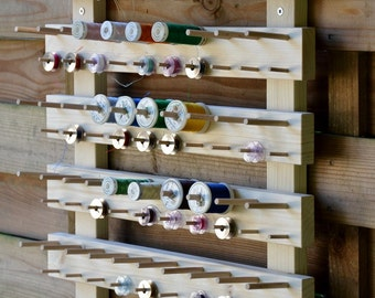 Wall display stand for 60 spool and 60 bobbin