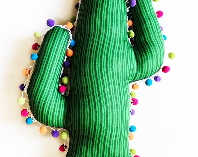 Cactus pillow Boho Rainbow pom