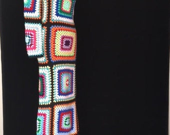 Handmade black/multi-coloured crochet maxi dress with Mandarin collar by ATC