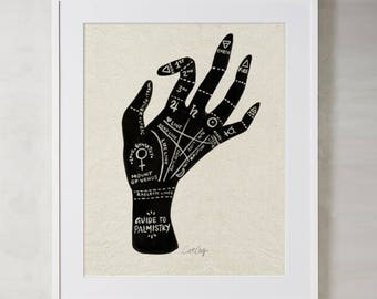 Palmistry – Acrylic Painting Art Print by CatCoq. Museum-quality on thick, archival, matte paper. Occult • Fortune Teller • Gold • Gypsy