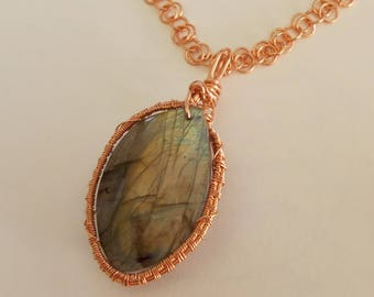 Wire-wrapped Labradorite Pendant Necklace